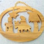 Presepe legno ulivo ovale