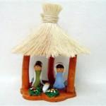 Presepe terracotta con tetto paglia