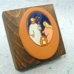 Presepe dipinto terracotta su supporto legno