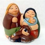 Presepe terracotta coppia con abbraccio